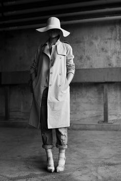 Trench coat, hat, rolled up jeans, heels