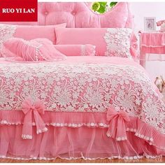 Cheap princess bedding set, Buy Quality bedding set directly from China bedding set Suppliers: White Pink Korean Princess Bedding Set Lace Ruffles duvet cover bedspread bed skirt bedclothes wedding king queen Gift Bag Teen Bedding, King Bedding Sets, Pink Bedding, Luxury Bedding Sets, Silk Bed Sheets, King Size Bed Sheets, Cheap Bed Sheets, Cotton Sheets, Bed Cover Design