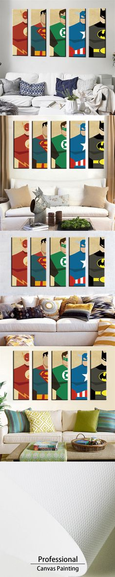 Oil Painting Frameless Watercolor Art Prints Poster Hipster Wall Picture Canvas Painting Cartoon Superman Kids Room Home Decor $18.56