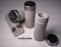 2 Concrete Spice shaker used as salt and pepper shaker with stainless lid and threaded concrete - Kreteware Concrete