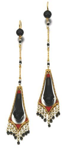 PAIR OF ONYX JASPER AND SEED PEARL EARRINGS 1920S
