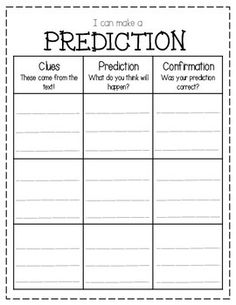 This graphic organizer is designed to help students make predictions while reading.  Students record clues from the text and, using prior knowledge and clues, they record their prediction.  Later, they can write what actually happened and see whether or not they can confirm their prediction.This can be used with whole group instruction or with novel groups/literature circles!Thanks for downloading!