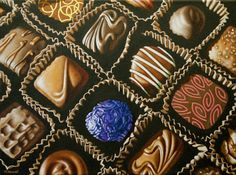"""Big Box o'Chocolates"" oil painting US$250.00. Oil on canvas, 12 x 16 inches. Available for purchase at www.horvatart.com.  Copyright 2016 Margaret Horvat."