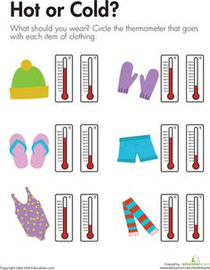 For each item on this first grade science worksheet, kids match a piece of clothing with the thermometer showing a temperature for wearing the item of clothing.