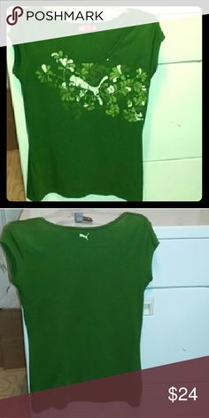 Puma woman's XL green tee Beautiful green XL pre-owned PUMA in excellent condition. Used a few times only. Puma Tops Tees - Short Sleeve