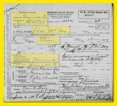 """""""South Carolina, Deaths, 1915-1943,"""" index and images, FamilySearch (https://familysearch.org/pal:/MM9.1.1/N968-M38 : accessed 27 July 2012), Jane Mc Coy, 1919."""