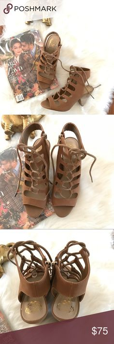 NEW VINCE CAMUTO ELENYA CHUNKY HEEL SANDALSBOOTIES Ready yourself for fall 2017 with Vince Camuto chunky heel sandals booties! This is very stylish and super chic Size 7. with stacked cone heel lace up sandals.Great deal! Vince Camuto Shoes
