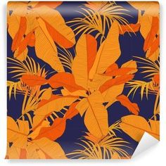 trendy tropical fabric seamless pattern, red palm leaves on dark navy background, vector illustration Red Palm, Kitchen Artwork, Tropical Fabric, Navy Background, Dark Navy, Leaves, Wallpaper, Illustration, Pattern
