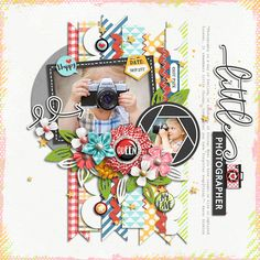 Photo of the day Collection, Stitched Up 07 Templates by Akizo Designs for Digital Scrapbooking Layout Page