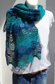 Crochet Diagram, Crochet Shawl, Crochet Stitches, Knitted Blankets, Shawls And Wraps, Scarf Wrap, Sewing, Knitting, Pattern