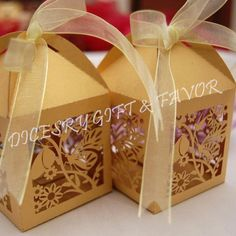 Butterfly design laser cut boxes made from rich shiny ivory cardstocks. Color - Gold.