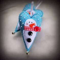 Felt Snowman Heart Christmas ornament
