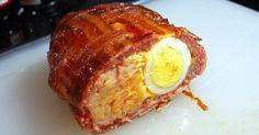 Ah, esto se ve muy rico... Papas, huevos, envueltos en carne molida y tocineta! Un excelente desayuno!