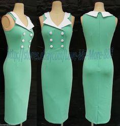 Medium Women Vintage Rockabilly Fitted Midi Pencil Wiggle bodycon Dress Lt.Green #covenchinchin #WigglePencil #WeartoWork