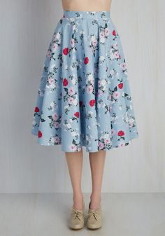 Sculpture Garden Gala Skirt - Colorsplash, Cotton, Woven, Blue, Pink, Floral, Print, Green, Multi, Casual, Full, Spring, Mid-length