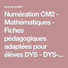 Numération CM2 - Mathématiques - Fiches pédagogiques adaptées pour élèves DYS - DYS-POSITIF