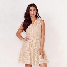 Women's LC Lauren Conrad Lace Fit & Flare Dress ($20) ❤ liked on Polyvore featuring dresses, med beige, sleeveless lace dress, lace dress, lacy dress, lc lauren conrad dresses and beige dress