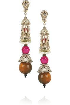 Etro: Gold-plated resin and crystal clip earrings