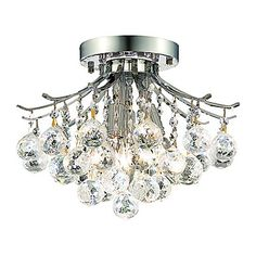 Modern 3 - Light Flush Mount Lights with Crystal Beads – USD $ 189.99