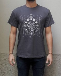 Alchemical Snake Occult Geometric Moon Phases Esoteric T-shirt Screen Printed HandPrinted T-shirt Unisex 100%OrganicCotton navy grey
