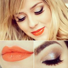 Don't think I could pull off the orange lip but I love the eye makeup