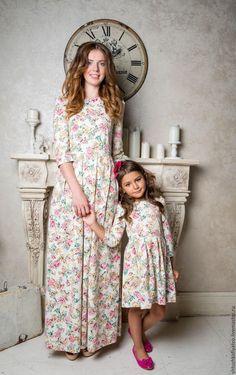 """Купить Жаккардовые платья фэмили """"Цветочки"""" - разноцветный, платье, жаккардовое платье, жаккард, фэмилилук, лереде"""