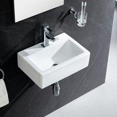 Shopping for Modern Ceramic 17 Wall Mount Bathroom Sink By Fine Fixtures Top Mount Bathroom Sink, Small Bathroom Sinks, Wall Mounted Bathroom Sinks, Small Sink, Boho Bathroom, Bathroom Styling, Modern Bathroom, Bathroom Ideas, Basement Bathroom