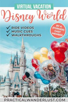 Take a virtual vacation to Disney World! This virtual Disney World trip includes a full day of ride videos, musical cues, and park walkthroughs. It's the perfect quarantine activity idea! Disney World Tours, Viaje A Disney World, Disney Parks, Walt Disney, Disney Worlds, Downtown Disney, Disney Cruise, Disney Vacations, Disney Trips