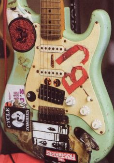 Billie Joe Armstrong's famous BLUE guitar. In the top left corner you will see a shout out to the Ramones.