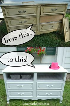 """Kammy's Korner: Turn """"Bad Drawers"""" into Cubbies or a shelf! {My FREE French Provincial Dresser} Stencil or add pretty paper/fabric and use baskets or containers"""