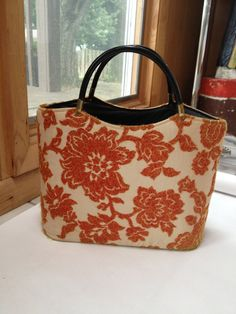 1960s orange cream large black hard shelled tote by RightBankGirl, $76.11