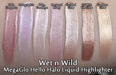 Wet n Wild MegaGlo Hello Halo Liquid Highlighters Drugstore Makeup Dupes, Makeup Swatches, Makeup Cosmetics, Beauty Dupes, Drugstore Highlighter, Wet And Wild Foundation, Wet N Wild Highlighter, Wet N Wild Cosmetics, Hard Candy Makeup