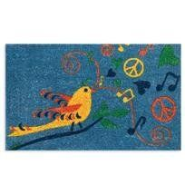 """Entryways Hippie Bird Hand Woven Coir Doormat by Entryways. $33.17. Hand made from all-natural coconut fiber which is an excellent dirt-trapper; 3/4"""" thickness. 18 in x 30 in. This mat is hand stenciled with permanent fade-resistant dyes. This beautifully designed hand-woven doormat will enhance your entry way or patio. It's made from the highest quality all natural coconut fiber.. Save 17% Off!"""