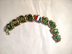 French Tourist Bracelet on Gold Tone Metal, City Links, Green by MySimpleDistractions on Etsy