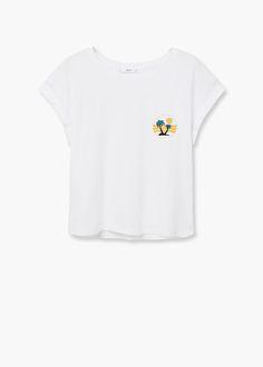 Koszulka z bawełny i modalu | MANGO