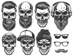 Set of different skull characters with different modern street style city attributes. royalty-free set of different skull characters with different modern street style city attributes stock vector art & more images of skull Tattoo Crane, Bart Tattoo, Stylish Beards, Dessin Old School, Totenkopf Tattoos, Modern Street Style, Vintage Hipster, Monochrome Fashion, Symbolic Tattoos