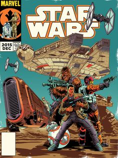 Vintage Star Wars The Force Awakens Comic Cover Issue 0 by daztibbles