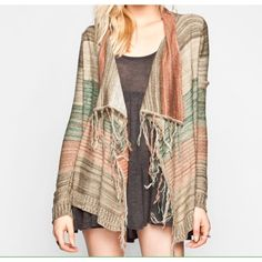Full Tilt Fringe Kimono Cardigan Excellent condition! Just a few spots of pulled up yarn. Super cute Full Tilt knit fringe cardigan sweater. Stripes of tan, blue, red, and more. Long fringed front. Draped wrap style in the front. Higher neck that can be folded down. Long sleeves. Super soft fairly light knit. Size medium. All offers welcome Full Tilt Sweaters Cardigans