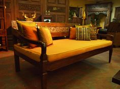 Carved Panel Balinese Daybed Tropical Furniture Bali Wood Decor