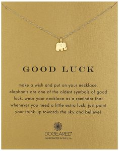 "Amazon.com: Dogeared Reminder ""Good Luck"" Gold-Plated Sterling Silver Elephant Pendant Necklace, 16"": Jewelry"