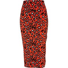 // red leopard print midi skirt - midi skirts - skirts - women - River Island - StyleSays