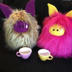 Fuzzling tea party!  Fuzzling: Handmade plush monster :)