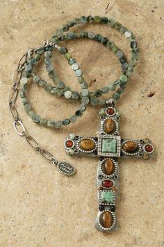 "African Safari Turquoise 3"" Cross Pendant"
