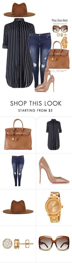 """Untitled #3099"" by stylebydnicole ❤ liked on Polyvore featuring Hermès, Christian Louboutin, Janessa Leone, Movado and Tom Ford"