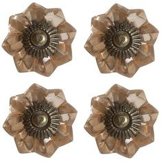 Blush Flower Glass Knobs - Set of 4.  How flipping awesome are these!  I want these for my bathroom cabinet!