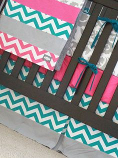 Custom baby bedding  Turquoise Hot Pink and Grey by GiggleSixBaby, $438.00