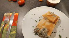 Mangold-Kartoffel-Paprika-Feta-Strudel mit Knoblauch Dip Strudel, Feta, Tacos, Mexican, Ethnic Recipes, Garlic Dip, Vegetarian Main Dishes, Red Peppers, Easy Meals