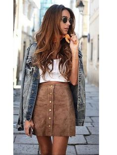 >>>Pandora Jewelry OFF! >>>Visit>> Street style look com saia evasê Fashion trends Fashion designers Casual Outfits Street Styles Mode Outfits, Fall Outfits, Summer Outfits, Casual Outfits, Fashion Outfits, Womens Fashion, Fashion Trends, Fashion 2018, Latest Fashion