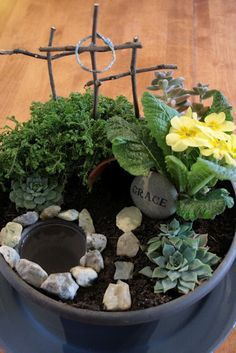 """Easter Grace or Resurrection garden //love that the rock says """"GRACE"""" such a symbolic picture"""