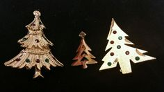 3 Vintage Christmas Tree Pins Brooch 2 unsigned 1 signed Avon #Avon